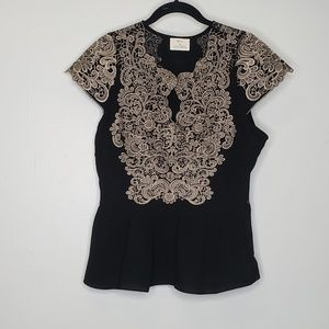 PINS AND NEEDLES LACE ADORNED PEPLUM TOP BLACK 12